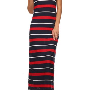 Women's Striped Long Maxi Dress - Sleeveless Racerback Tank Dress