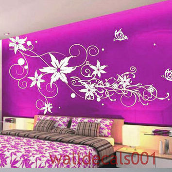 Kids wall decals Wall stickers,wall decor,,wall art, Flower with Butterfly for girls room