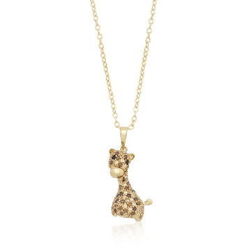 Golden Cz Giraffe Pendant Necklace