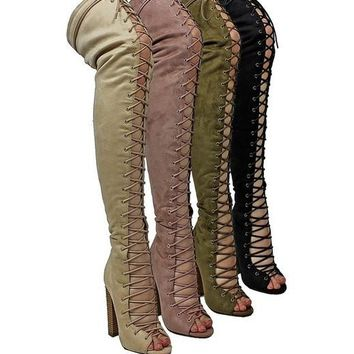 Khelani Front Lace Up Knee High Boot