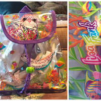 Authentic 90s Lisa Frank Backpack, Clear Mini Backpack, Sea Lions, Seals, Fish, Ocean, Beach