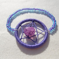 Amethyst (crackled) dreamcatcher stretch bracelet with seed beads