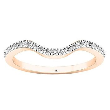 0.15 Carat (ctw) 14K Gold Round White Diamond Anniversary Ring Wedding Guard Band