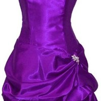 Strapless Satin Bubble Dress Prom Formal Holiday Party Cocktail Gown Bridesmaid, Small, purple