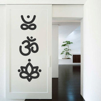 Wall Decor Vinyl Sticker Room Decal Yoga Hindu Hinduism Buddhism Om Meditation Lotus India Lifestyle Religion (s240)
