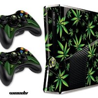 Designer Skin for XBOX 360 SLIM System & Remote Controllers -Weeds - Black