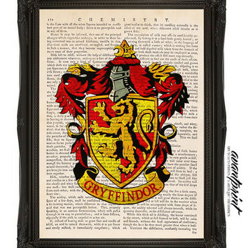 Gryffindor House Crest Harry Potter Original Print on an Unframed Upcycled Bookpage