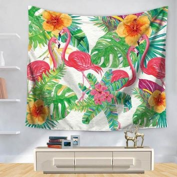 Floral Flamingos Tapestry