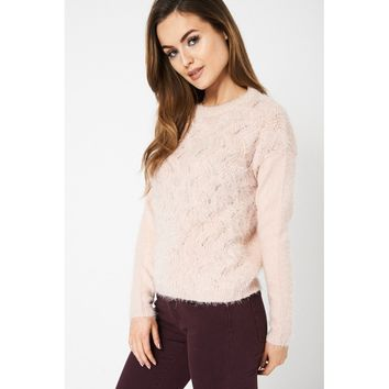 Dusty Pink Fluffy Jumper Exed