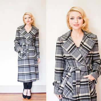 Vintage 1970s Pendleton Coat - Oversized Blue Plaid Blue Wood Wrap Overcoat 70s - Small - Medium