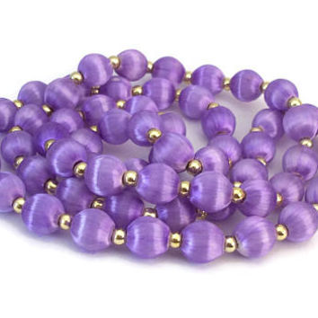 Vintage Lavender Purple Silk Wrapped Beaded Necklace 31 inch Long Over The Head Silk Thread Necklace - Gold Bead Accents Spacers