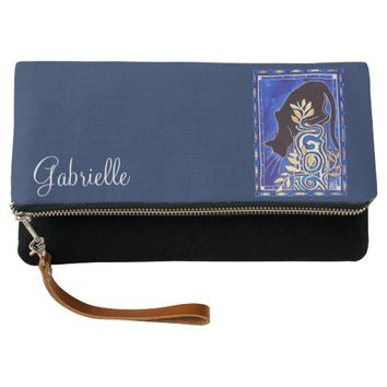 Black Cat Silhouette with Silver Monogram G Clutch
