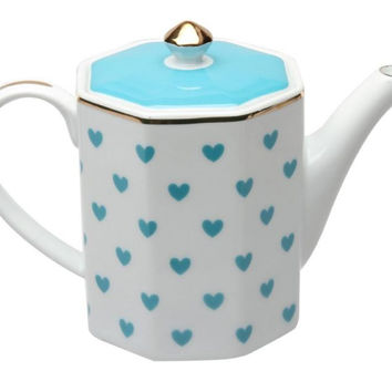 Turquoise Heart Porcelain Teapot - 3 Available