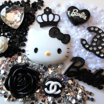 DIY black decoden kit bling cabochons by DecodenDiva on Etsy
