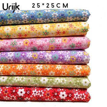 Urijk 7PCs Mixed Sunflower Cotton Fabrics For Patchwork Cloth DIY Handmade Sewing Home Decor Material Cheap Fabric 25x25cm