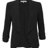 Womens Lightweight Ruched 3/4 Sleeve Open Front Blazer Jacket