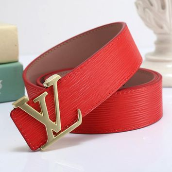 Louis Vuitton LV x Supreme Fashion Smooth Buckle Belt Leather Belt