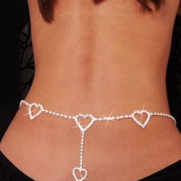 Rhinestone Heart to Heart Belly Chain