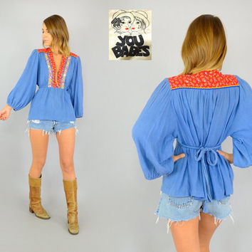 70's GAUZE bohemian 'You Babes' hippie ethnic floral bib POET SLEEVE tie-back Blouse, small-medium
