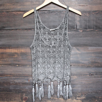 west coast crochet tank with tassels - brown/grey