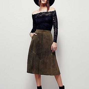 Free People Womens Geometry Lesson Suede Skirt