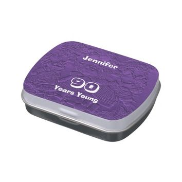Purple Dolls Candy Tin Party Favor 90 Years Young
