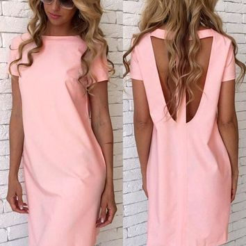 Pink Cut Out Round Neck Short Sleeve Casual Mini Dress