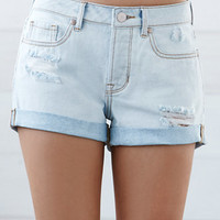 Bullhead Denim Co. Tuesday Wash Ripped Cuffed Denim Girlfriend Shorts at PacSun.com