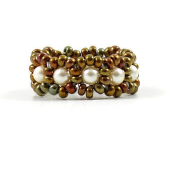 Bead Pearl Ring Beaded Band Seed Bead Jewelry