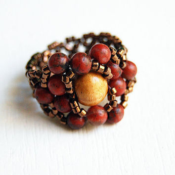 Jasper red beaded stretch ring wooden center bead