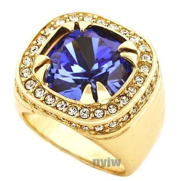 ESBONRC NEW MENS BIG CHUNKY GOLD PLATED ICED OUT RICH GANG BLUE SAPPHIRE RING R019G
