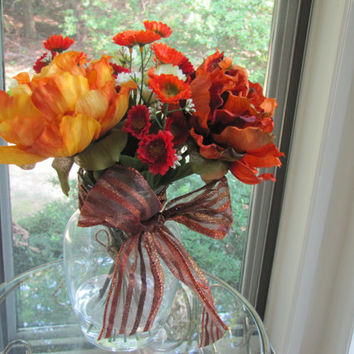 Beautiful fall color Silk Flower Arrangement-Orange  peonies in glass vase with faux water.