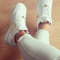 NIKE Air Force 1 Fashion Women Men Casual Low Help Running Sport Shoes Sneakers White Golden I