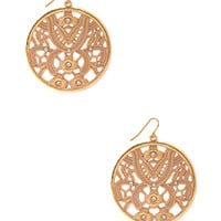 FOREVER 21 Floral Disc Earrings Pink One