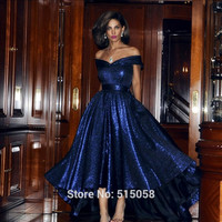 Sexy Off The Shoulder Bow Sashes Front Short Long Back Sequins Evening Dresses 2016 High Low Prom Formal Party Gowns
