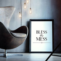 Bless this mess sign, Oversized wall art quote printable, Elegant word wall art for living room, Wall decor quotes, Modern typography print
