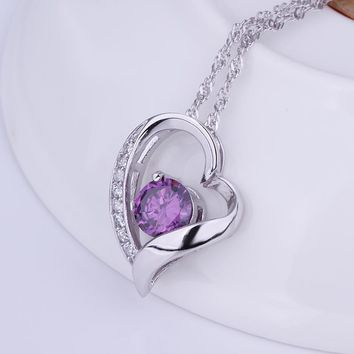Heart Purple Stone Domestic Violence Awareness Necklace