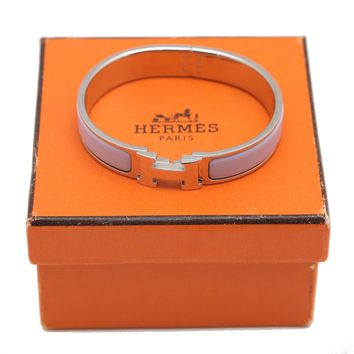 Auth HERMES Clic Clac Bangle Bracelet Light Purple Enamel Silver H Logo