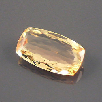 Precious Topaz: 4.10ct Peach Cushion Shape Gemstone, Natural Hand Made Faceted Gem, Loose Precious Mineral, Cutter, Creative Designers 20230