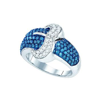 10kt White Gold Womens Blue Colored Diamond Belt Buckle Cocktail Ring 1-3/8 Cttw