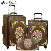 Montana West Sugar Skull Collection 3 PC Luggage Set -Coffee