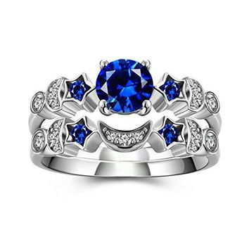DALARAN Cubic Zirconia Ring Set for Women Wedding Engagement Rings Blue Crystal Moon Sun Star Bands