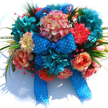 Headstone Floral Saddle Arrangement - Mothers Day Cemetery Flowers, Memorial Saddle, Remembrance, Gravesite Flowers, Funeral Arrangement