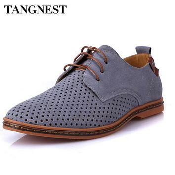 Tangnest Men Oxfords Shoes Man 2018 Summer Breathable Suede Leather Shoes British Man Cut Outs Dress Shoes Big Size 38-47 XMP179