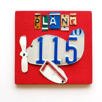 Plane, OOAK  License Plate Art, Custom Home Decor, Boys Room Wall Hanging, transportation, nursery, pilot, aviation decor