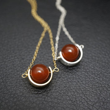 Gold Red Carnelian Necklace - Tiny Cresent Moon Pendant - Geometrical Galaxy Nec