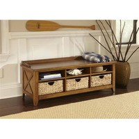 Liberty Furniture Hearthstone Cubby Storage Bench in Rustic Oak Finish