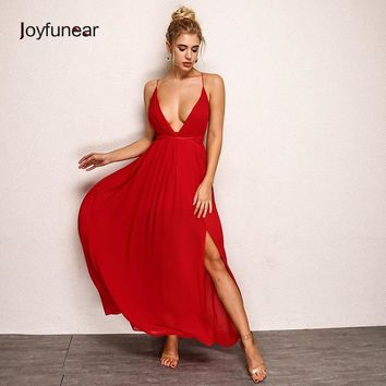 Junfunear Women Deep V-neck Sexy Long Dress Summer Backless Solid Chiffon Elegant Maxi Dresses Red Pink White Blue Color