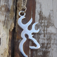 large Browning deer necklace, silver browning deer, country jewelry, redneck, country wedding gift, camo hunter jewelry, girls who hunt,