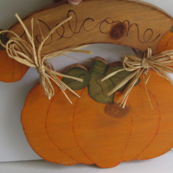 WELCOME Sign Country Harvest Welcome Sign Pumpkin Harvest Fall Front Door Decor Wooden Sign Wall decor Pumpkins